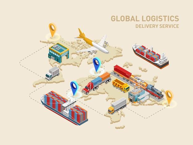 Wereldwijd logistiek schema met bestemmingspunten