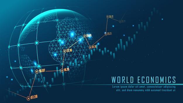 Wereldwijd netwerk met grafiek