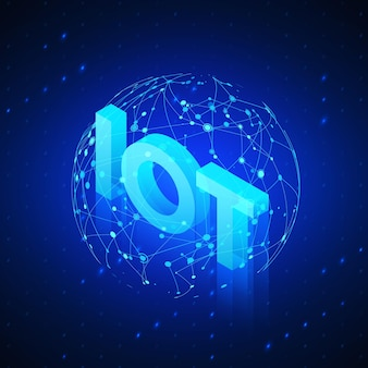 Wereldwijd netwerkhologram met tekst iot incide. technologie blauwe isometrische achtergrond. illustratie