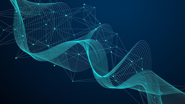 Wereldwijd netwerkverbindingsconcept. big data visualisatie. sociale netwerkcommunicatie in de wereldwijde computernetwerken. internet technologie. bedrijf. wetenschap. vector illustratie