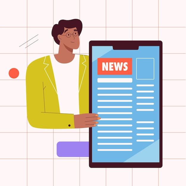 Wereldwijd nieuws in mobiel app-concept