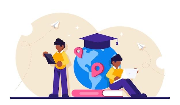 Wereldwijd onderwijs. jongen die zich voor boeken en bol met glb bevindt.