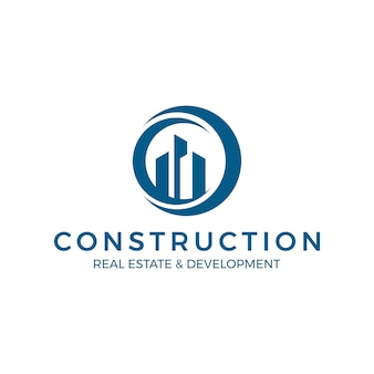 Wereldwijd onroerend goed bouwlogo