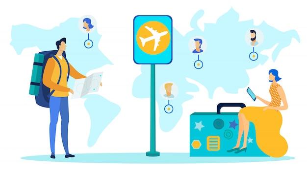 Wereldwijd reizen, toerisme plat