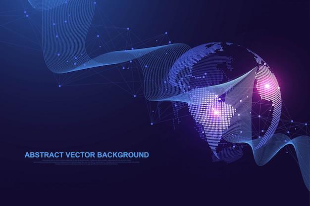 Wereldwijd sociaal netwerk. netwerken en dataverbinding concept. wereldwijd internet en technologie. dynamische golven verbonden door plexuslichtlijnen. virtuele digitale compositie. .