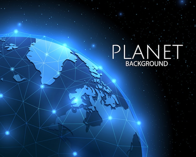 Wereldwijd sociaal netwerkblauw van de planeet