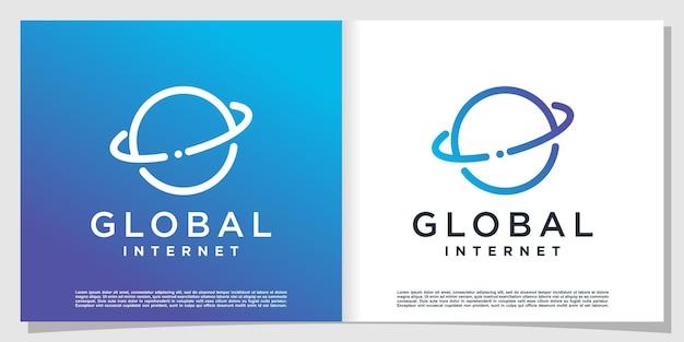 Wereldwijd tech-logo met creatief concept premium vector
