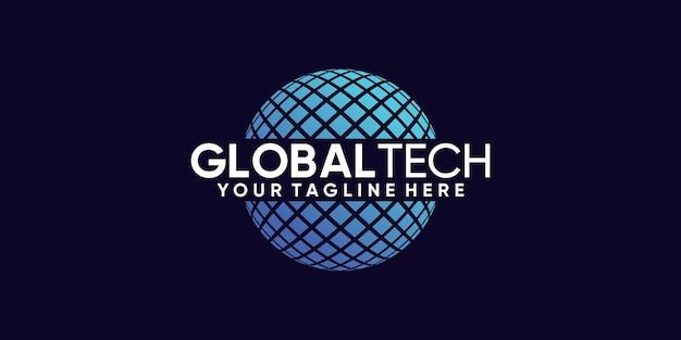 Wereldwijd technisch logo-ontwerp met uniek modern concept premium vector