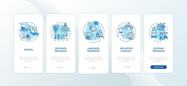 Wereldwijd uitwisselingsprogramma onboarding mobiele app paginascherm met concepten. vrijwillige missie. onderwijs in het buitenland walkthrough 5 stappen grafische instructies. ui-vectorsjabloon met rgb-kleurenillustraties