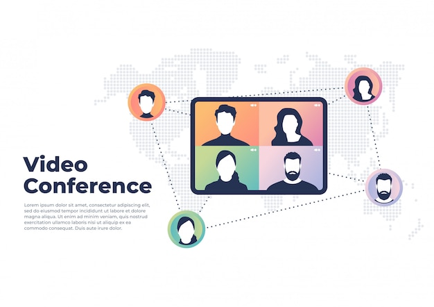 Wereldwijd videoconferentieconcept. videoconferenties en online meeting-banner.