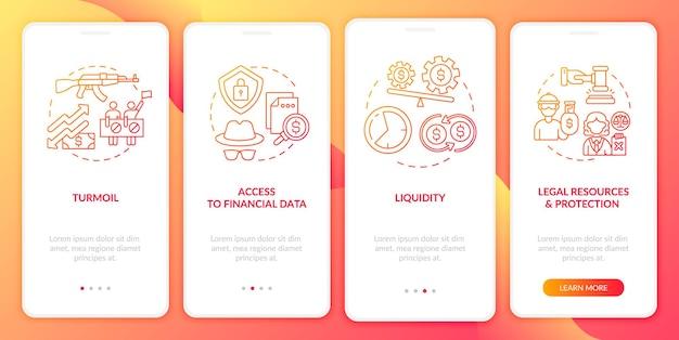 Wereldwijde aandelenuitdagingen onboarding-paginascherm voor mobiele apps met concepten