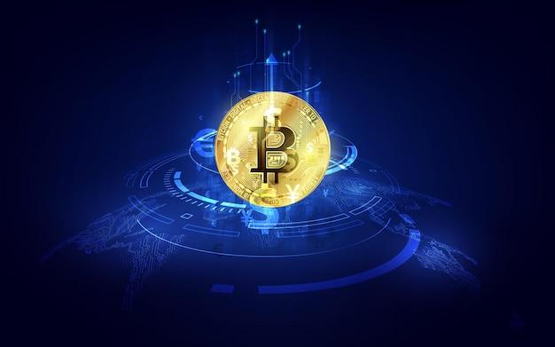 Wereldwijde abstracte bitcoin crypto-valuta blockchain-technologie wereldkaart
