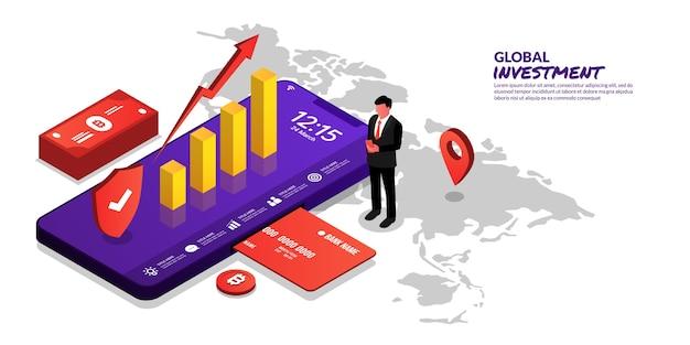 Wereldwijde bedrijfsinvesteringen concept illustratie van zakenman handel met smartphone