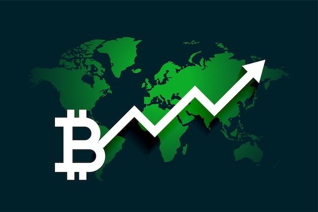 Wereldwijde bitcoin groei pijl grafiek achtergrond