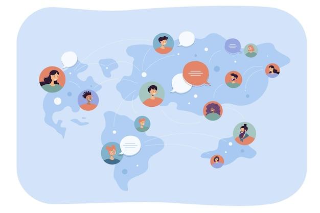 Wereldwijde communicatie van mensen uit verschillende landen