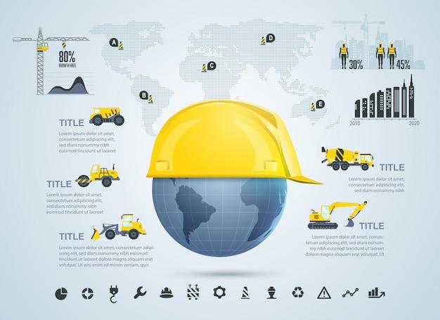 Wereldwijde constructie infographic sjabloon