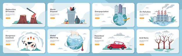 Wereldwijde ecologieproblemen ingesteld. milieuramp, aarde in gevaar. ontbossing en klimaatverandering. illustratie in stijl