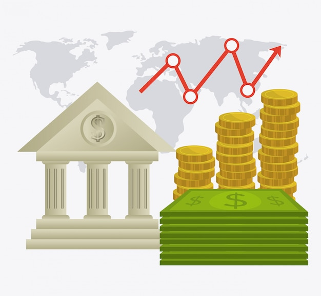 Wereldwijde economie, geld en zakelijk ontwerp.
