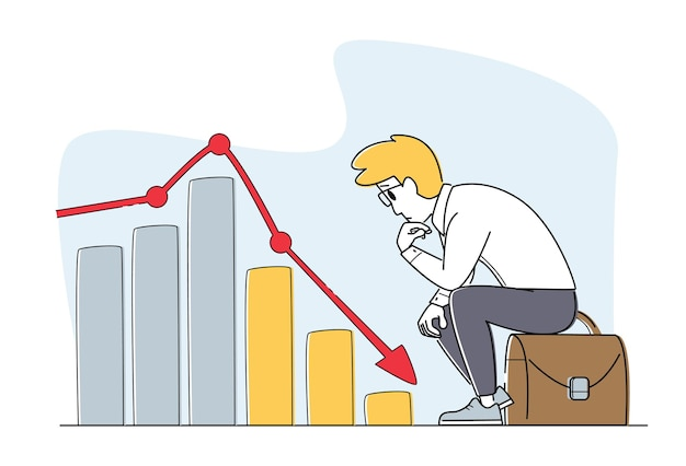 Wereldwijde economische crisis, verzuimde economie, verkoopdaling. de zakenman kijkt op grafiek die naar beneden gaat