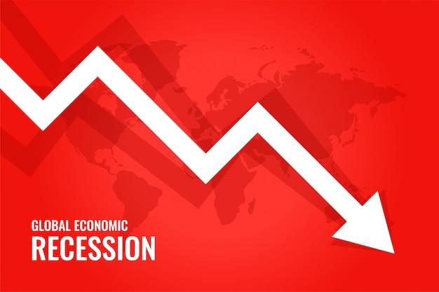 Wereldwijde economische recessie ondergang pijl rode achtergrond