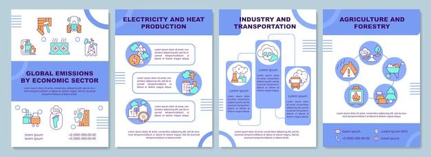 Wereldwijde emissies per economische brochuresjabloon