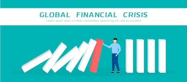 Wereldwijde financiële crisis. zakenman die dalende domino tegenhoudt. bedrijfsbeheer en oplossing concept.