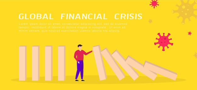 Wereldwijde financiële crisis. zakenman die dalende domino tegenhoudt. covid-19 coronavirus economische impact. illustratie.
