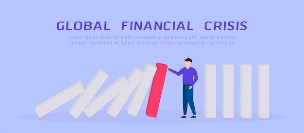 Wereldwijde financiële crisis. zakenman die dalende domino tegenhoudt. covid-19 coronavirus economische impact. platte 3d isometrische 3d. bedrijfsbeheer en oplossing concept. illustratie.