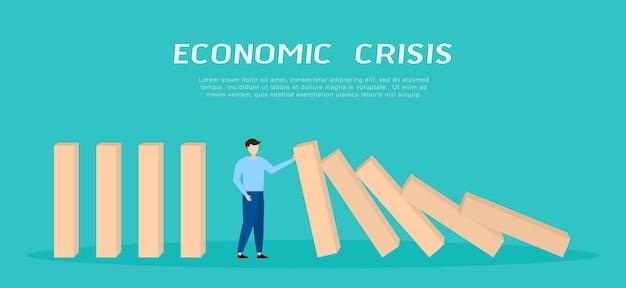 Wereldwijde financiële crisis. zakenman die dalende domino tegenhoudt.