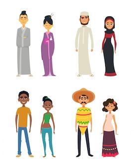 Wereldwijde groep van internationale volkeren in cartoon-stijl