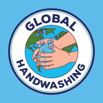 Wereldwijde handenwasdag en handen wassen met wereld in zegelstempelontwerp, hygiënische wasgezondheid en schoon