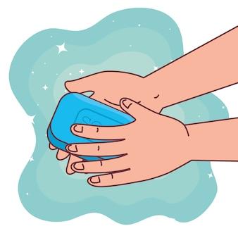 Wereldwijde handenwasdag en handen wassen met zeepontwerp, hygiëne, gezondheid en schoon wassen
