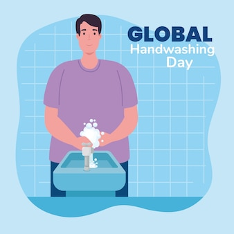 Wereldwijde handswashing dag man handen wassen met waterkraan ontwerp, hygiëne wassen gezondheid en schoon
