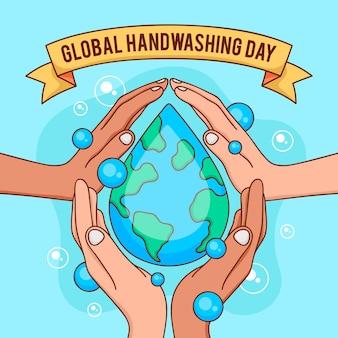 Wereldwijde handwas dag achtergrond
