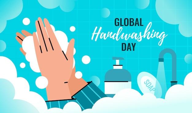Wereldwijde handwasdag. persoon wast handen met een schuimdispenser om infectie te voorkomen.