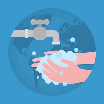 Wereldwijde illustratie van handen wassen