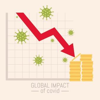Wereldwijde impact van covid 19 coronavirus, economie financiële ondergang illustratie