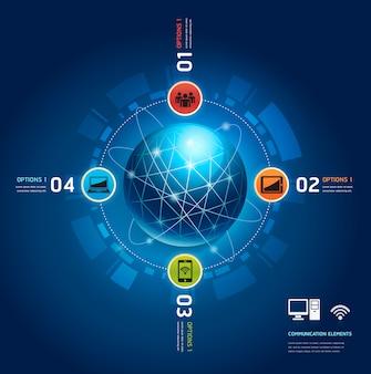 Wereldwijde internetcommunicatie met banen
