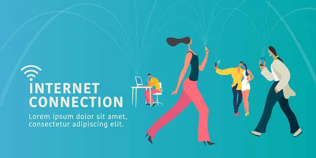 Wereldwijde internetverbinding en moderne mensen concept vlakke afbeelding, banner.