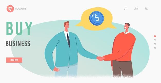 Wereldwijde investeringsmogelijkheid, sjabloon voor bestemmingspagina voor zakelijke overeenkomsten. ondernemers tekens handen schudden. partnerschap, discussie tijdens onderhandelingen. cartoon mensen vectorillustratie