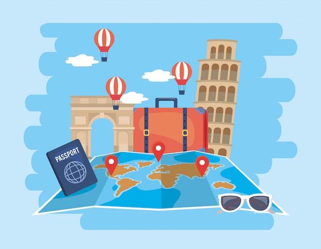Wereldwijde kaartlocatie met luchtballonnen en paspoort