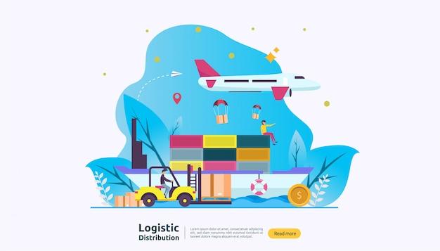 Wereldwijde logistieke distributiedienst en levering wereldwijd scheepsbanner met personagekarakter