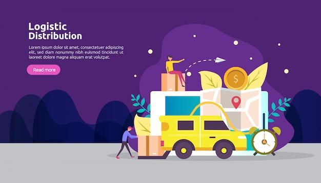 Wereldwijde logistieke distributiedienst en levering wereldwijd scheepsbanner met personagekarakter Premium Vector