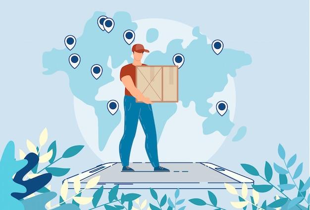 Wereldwijde logistieke levering online mobiele service