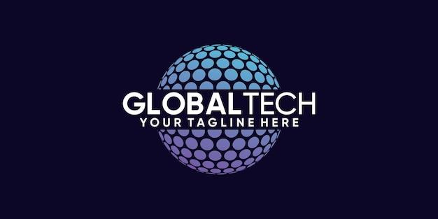 Wereldwijde logo-ontwerptechnologie met creatief modern concept premium vector