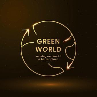 Wereldwijde milieu-logo vector met groene wereld tekst