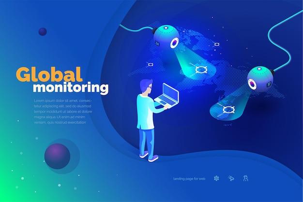 Wereldwijde monitoring een man met een laptop communiceert met een wereldwijd volgsysteem