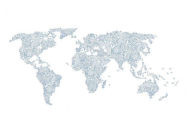 Wereldwijde netwerk digitale circuitverbinding.