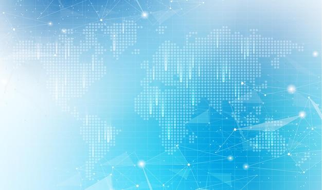 Wereldwijde netwerktechnologieachtergrond met wereldkaart of sociale media communicatie internetnetwerk