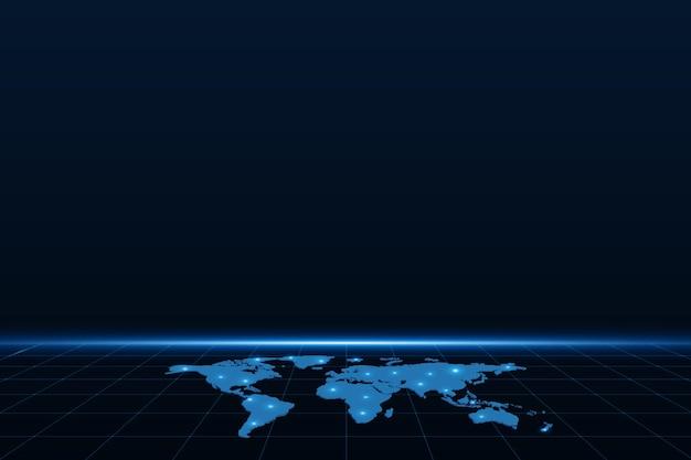 Wereldwijde netwerkverbinding kaart.